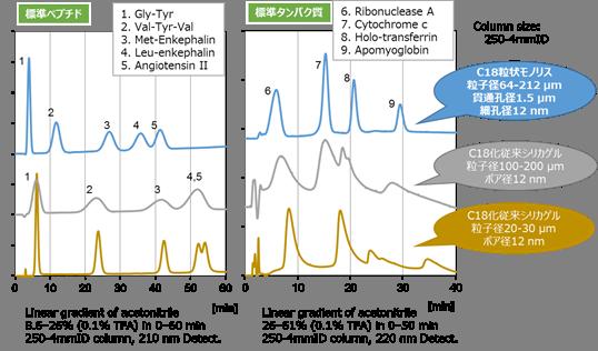 ペプチド・タンパク質分離精製用充填カラム分解能